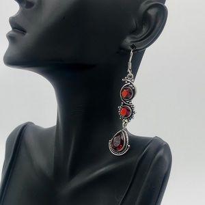 New Silver Garnet Earrings